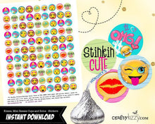 Teen Emoji Kisses stickers - party favors