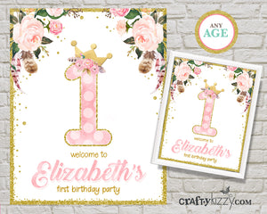 Princess First Birthday Invitations - Pink and Gold Boho Girl 1st Birthday Party - Big One Watercolor Floral - Valentine's Birthday Valentine Bday Invite