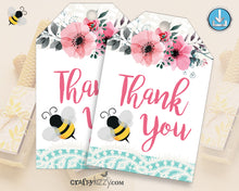 Girl Bumble Bee Thank you Card - Mom to Bee Thank You Card - Printable Pink Floral Honey Comb - Baby Shower - INSTANT DOWNLOAD