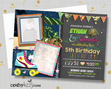 Roller Skating Joint Birthday Invitation Army Soldier Birthday Invitations - Roller Skate Twin Invitation
