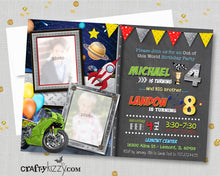 Solar System Sibling Birthday Invitation Motorcycle Joint Birthday Invitation - Dirt Bike Planets Motorbike Racing Galaxy Out of this World Boy