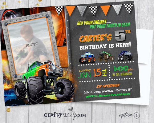 Orange Monster Truck Boy Birthday Invitation - Off-Roading Birthday Party Invitations - Mudders Party - CraftyKizzy