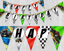 Monster Truck Happy Birthday Triangle Pennant Banner Printable Bunting Flag Banner - Party Flags P0003 - INSTANT DOWNLOAD