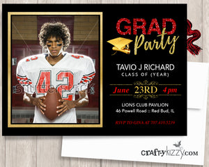 Red and Gold Graduation Invitation - High School Grad or College Grad Invitations - Your Chose of Colors