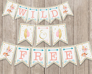 Young Wild and Three Woodland Birthday Invitation Printable Forest Animals - Boho Woodland Party - CraftyKizzy