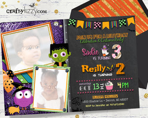 Halloween Birthday Invitation For Kids - Joint First Birthday Chalkbaord Birthday Invitations - Twins - Monster Invitation - Owl Invitation