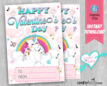 Girl Unicorn Happy Valentine's Day Cards - Girls Valentines Day Fill In The Blank Classroom Printable Cards - Kids Teachers - INSTANT DOWNLOAD - CraftyKizzy