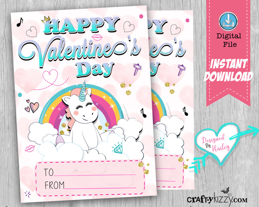 Girl Unicorn Happy Valentine's Day Cards - Girls Valentines Day Fill In The Blank Classroom Printable Cards - Kids Teachers - INSTANT DOWNLOAD