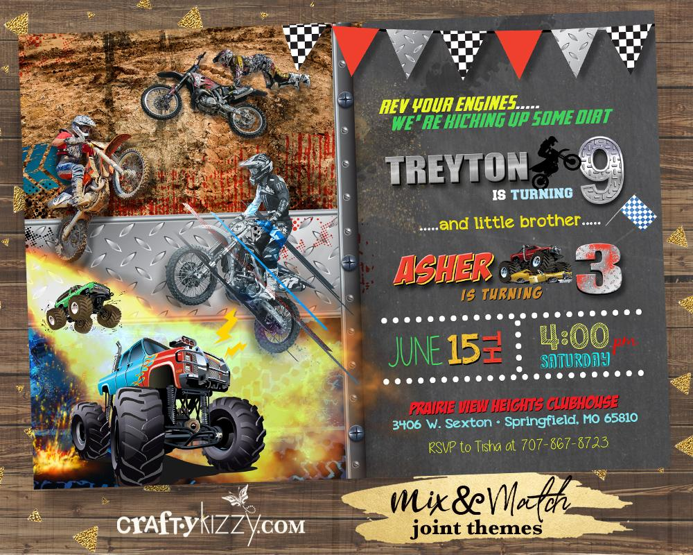 Dirt Bike Joint Birthday Invitation - Boy Monster Truck Sibling Birthday Invitations - Boys Invitations - CraftyKizzy