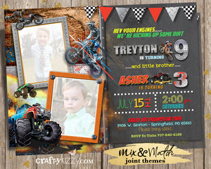 Dirt Bike Joint Birthday Invitation - Boy Monster Truck Sibling Birthday Invitations - Boys Invitations