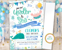 First Birthday Ocean Invitation - Sea Animal Invitations - Under The Sea Party - Nautical