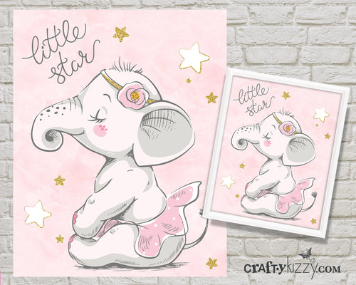Pink Baby Ballerina Elephant Nursery Room Art Print - Pink Tutu Little Star Printable Illustration - Ballet - Wall Decor - INSTANT DOWNLOAD - CraftyKizzy