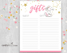 Pink Elephant Baby Shower Gift List