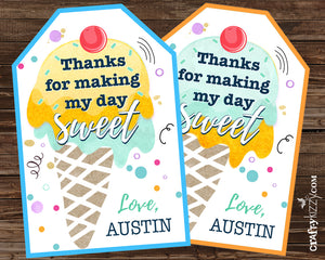 Boy Ice Cream Party Favor Tags - Girl Ice Cream Thank You Tags - Birthday Party Favors Personalized Ice Cream Tag - CraftyKizzy