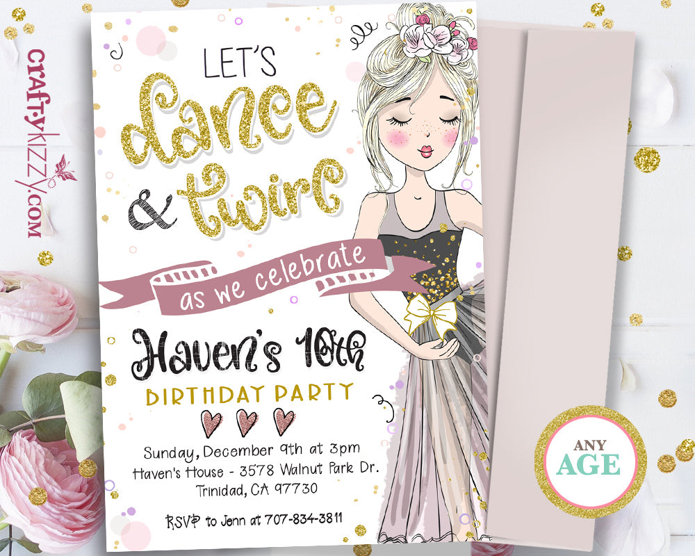 Tween Ballet Dancer Birthday Invitation