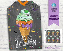Ice Cream Happy Halloween Party Favor Tags - Fall Festival Gift Tags For Kids - Halloween Treat Bag Labels - DIY INSTANT DOWNLOAD - CraftyKizzy