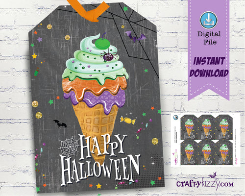 Ice Cream Happy Halloween Party Favor Tags - Fall Festival Gift Tags For Kids - Halloween Treat Bag Labels - DIY INSTANT DOWNLOAD