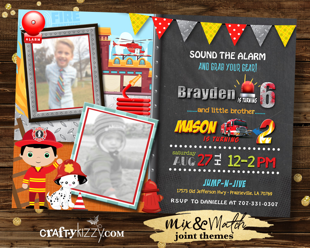 Joint Fire Fighter Birthday Invitation - Joint Fire Truck Invitations - Boy Printable Party Invites