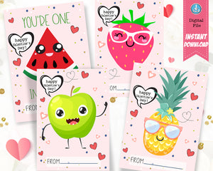 Fun Fruit Valentines Day Cards for Kids - Pineapple Stawberry Watermelon Apple - INSTANT DOWNLOAD