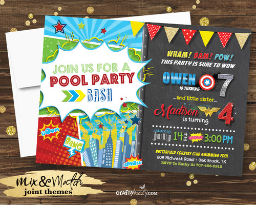Superhero Birthday Invitation - Joint Superhero Pool Party Bash Invitations - Boy Girl Superheroes Printable Party Invites - CraftyKizzy