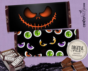 Scary Pumpkin Halloween Chocolate Bar Wrapper Printable Favors - Eyeball Halloween Hershey's Bar Label - Block Party Candy Favors - INSTANT DOWNLOAD