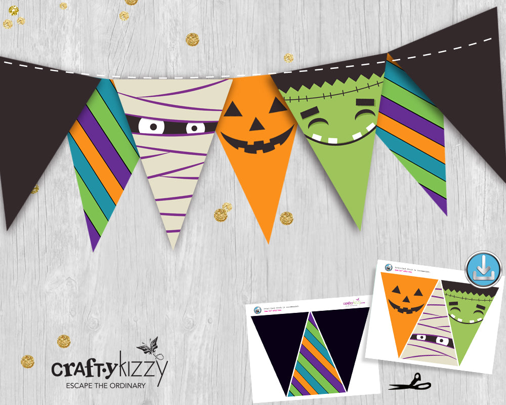 Monster Pennant Banner - Halloween Banner - Bunting Flags - Printable Halloween Party Decor - Monster Party Decor - INSTANT DOWNLOAD