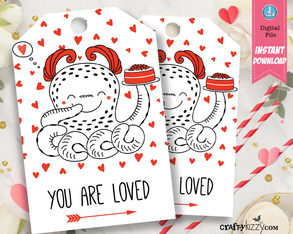 Happy Valentines Day Favor Tags - Valentine's Day Printable Gift Tags - Octopus Teacher Valentines Day Tag - INSTANT DOWNLOAD
