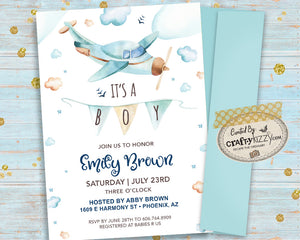 Airplane Baby Shower Invitation - It's A Boy - Printable Up Up and Away Invitations - Vintage Plane And Clouds Baby Shower Invite