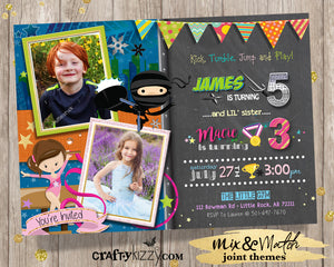 Ninja Joint Birthday Invitations