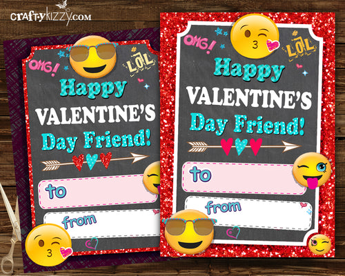 Emoji Valentines Cards - Girls Valentine's Day Fill In The Blank Printable Classroom Cards - Kids Valentine Cards - Girl INSTANT DOWNLOAD - CraftyKizzy