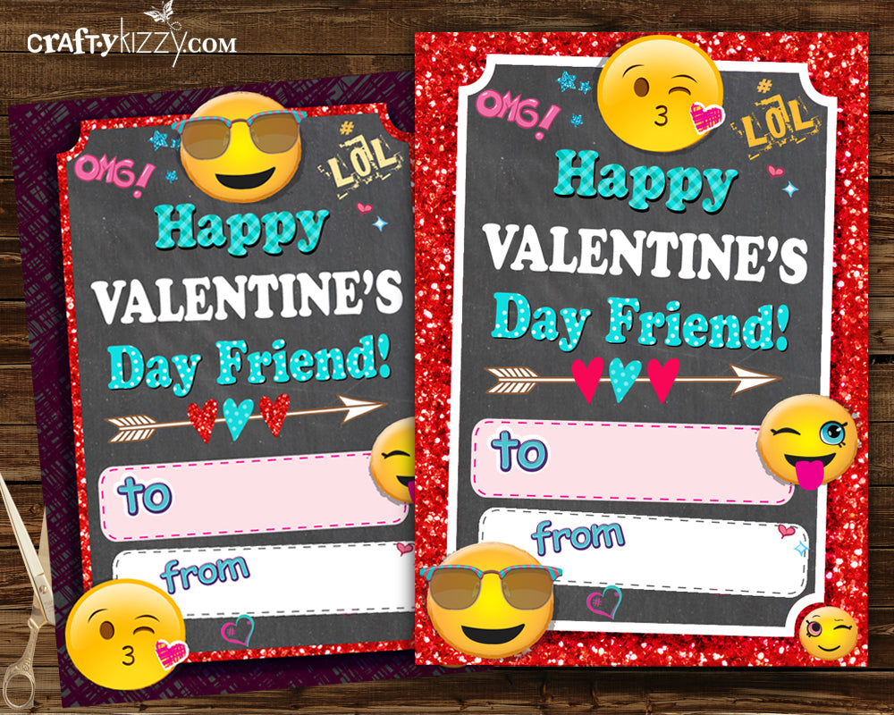 photograph about Printable Kids Valentines Cards referred to as Emoji Valentines Playing cards - Ladies Valentines Working day Fill Inside The Blank Printable Clroom Playing cards - Little ones Valentine Playing cards - Woman Fast Down load