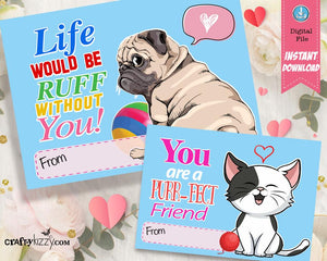 Cute Animal Valentine's Cards For Kids - Kitty Cat Valentines - Classroom Pet Valentines Day - Pug Valentines - INSTANT DOWNLOAD - CraftyKizzy