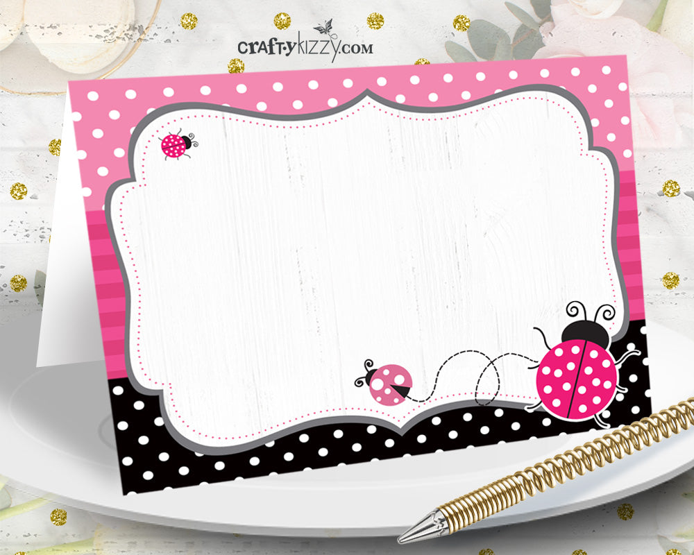 Ladybug Baby Shower Table Tents - Pink Ladybug Birthday Food Tent - First Birthday Place Cards - Buffet Card - INSTANT DOWNLOAD - CraftyKizzy