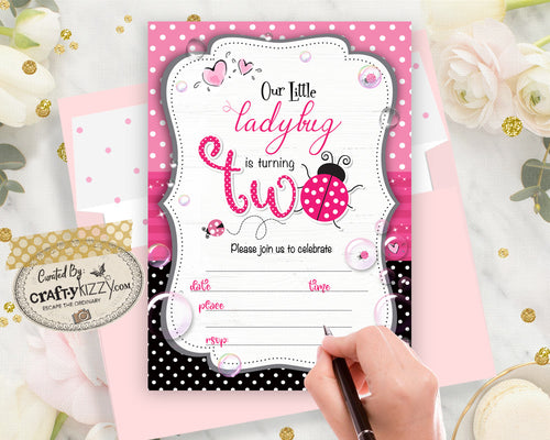 Ladybug Blank Birthday Invitations - Pink Ladybug Fill In The Blank Printable Birthday Invitation - Second Birthday - CraftyKizzy