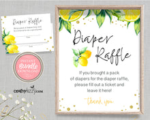 Gender Neutral Baby Shower Diaper Raffle Sign And Ticket Bundle - Citrus Diaper Raffle Tickets - Lemon Themed Party Bundle - Diaper Raffle Sign and Card Game - INSTANT DOWNLOAD