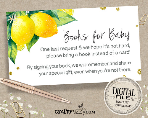 Gender Neutral Books For Baby - Lemon Baby Shower Book Request Insert - Girl Citrus Insert Card - INSTANT DOWNLOAD