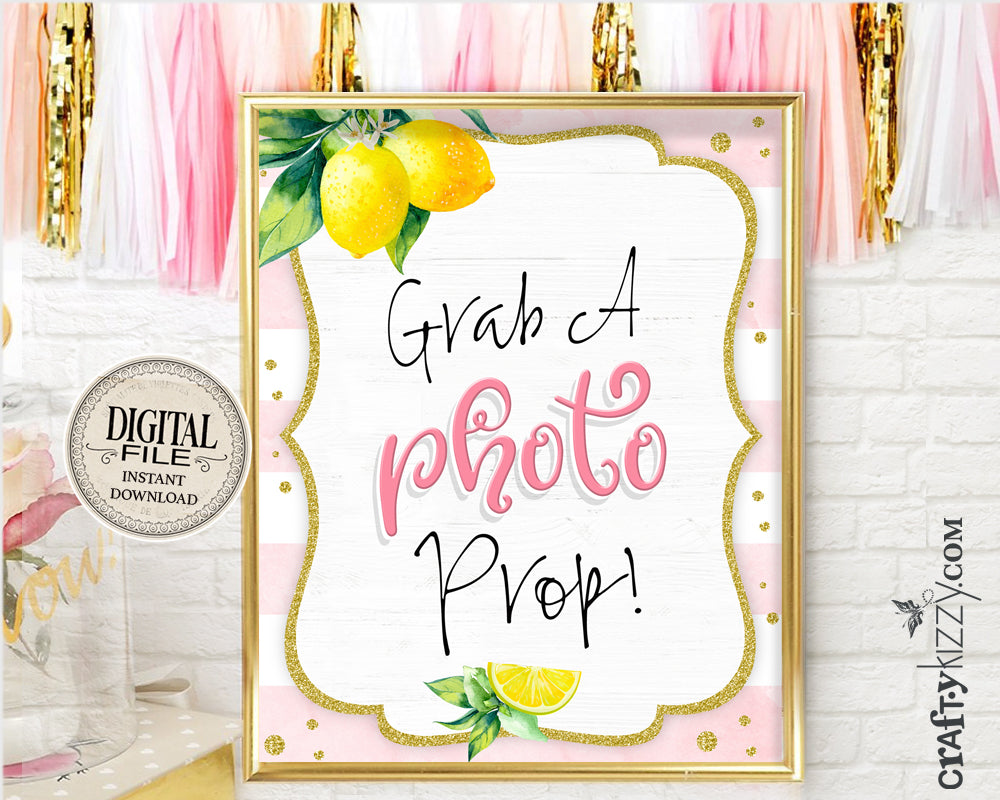 Grab A Photo Prop Printable Sign - Baby Shower Selfie Table Signs - Lemon Themed Bridal Photo Sign Pink - INSTANT DOWNLOAD