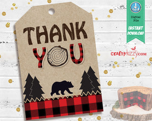 Lumberjack Thank You Favor Tags - Red Plaid Wilderness Birthday Favors - Boy Baby Shower Tag - INSTANT DOWNLOAD - CraftyKizzy