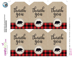 Red LumberJack Thank You Favor Tags Plaid LumberJack Birthday Favors - Boy Baby Shower Tag - INSTANT DOWNLOAD - CraftyKizzy