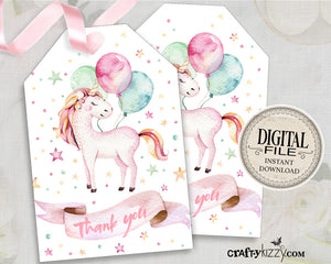 Baby Shower Unicorn Favor Tag - Unicorn Birthday Party Tags - Thank You Tag Favors - INSTANT DOWNLOAD