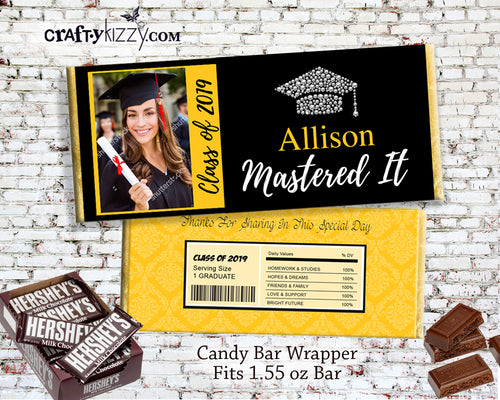 Mastered It Graduation Party Gift - Candy Bar Graduation Wrappers - Chocolate Bar Favors - College Party Favor Label - Masters Program Personalized - CraftyKizzy