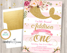 pink and gold mermaid first birthday invitation
