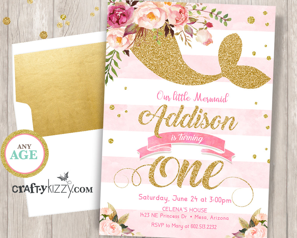 Mermaid First 1st Birthday Party Invitation - Watercolor Soft Pink and Gold - Flowers - Printable Girl Invitations - Any Age - CraftyKizzy