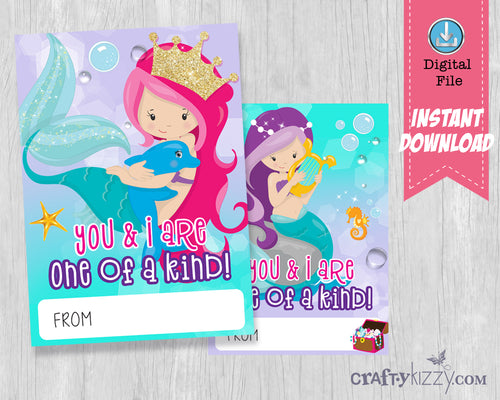 Mermaid Valentines Day Printable Cards School Classroom Valentine's for kids - DIY Valentine's INSTANT DOWNLOAD - CraftyKizzy