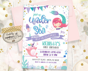 Mermaid First Birthday Invitation - Under The Sea Mermaid Narwhal Invitation - Watercolor Teal, Mint Green, Purple - Printable Girl Invitations - CraftyKizzy