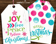 Bright Pink and Blue Christmas Gift Tags - Modern Fun Holiday Favor Tags - Party Favor Tag - INSTANT DOWNLOAD