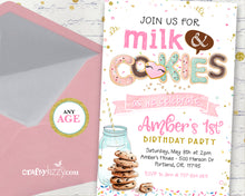 Milk and Cookies Birthday Invitation - Girl Cookie Party Invitations - Classroom Party Invitation - CraftyKizzy