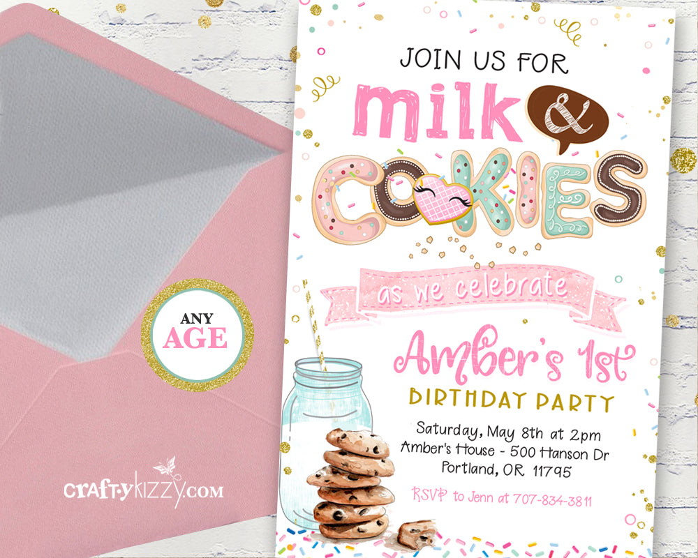 Milk and Cookies Birthday Invitation - Girl Cookie Party Invitations - Classroom Party Invitation