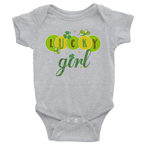 Lucky Girl St Patrick's Day Bodysuit - Infant Shirt - Toddler Outfit - Green Shamrocks Sizes 6M-24M - CraftyKizzy