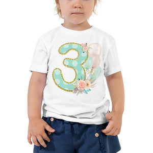 Boho Third Birthday T-shirt - Shabby Chic Wild Three Outfit - Party Shirt - Mint Pink Floral Tee Feathers & Balloons - CraftyKizzy